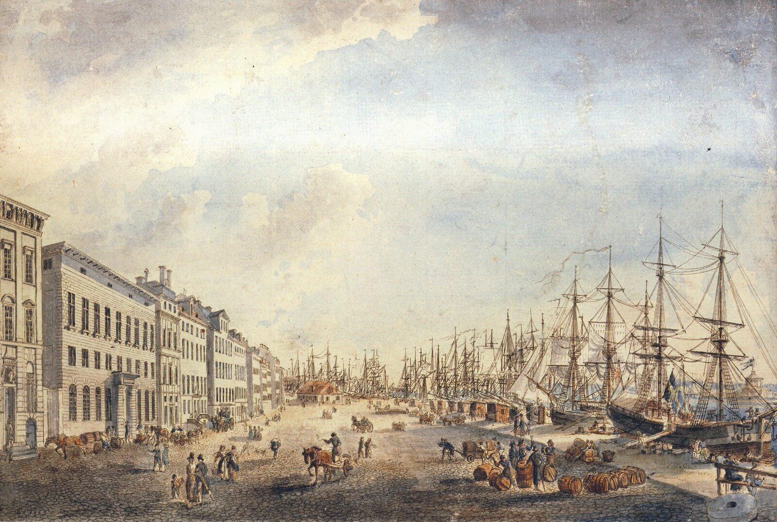 Skeppsbron i Stockholm var Sveriges finansiella centrum på 1700-talet. De som bodde här var inte bara affärsman utan också ägare av ett industriimperium med ett stort antal järnbruk och hammare med tillhörande herrgårdar i Uppland och på båda sidor om Bottenviken.   Akvarellerad pennteckning av Johan Petter Cumelin.