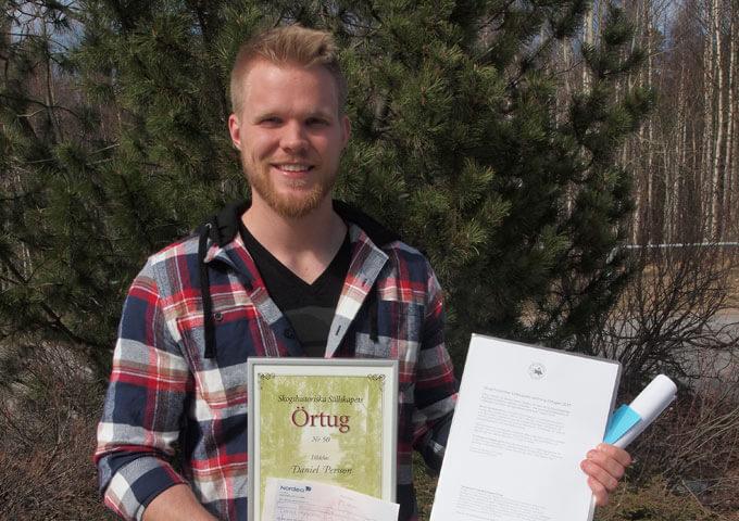 Daniel Persson, mottagare av Örtug nr 50 år 2017.